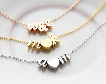Cursive Initials & Heart Bracelet - Gold, Silver, Rose Gold Script Initials Dainty Bracelet Bridal Personalized Bridesmaid Gift Wedding