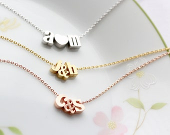 Initials Necklace with Ampersand or Heart - Gold Silver or Rose Gold Letter Personalized Bridesmaid Gift Bridal Custom Wedding Initial