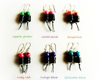 Acai Earrings - Sterling Silver & Dark Wood / eco-friendly
