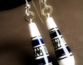 Sterling Silver Ceramic Earrings - Handcrafted / Peru
