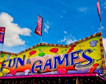 Fun & Games Carnival Fair Booth Fine Art Print- Carnival Art, County Fair, Nursery Decor, Home Decor, Children, Baby, Kids