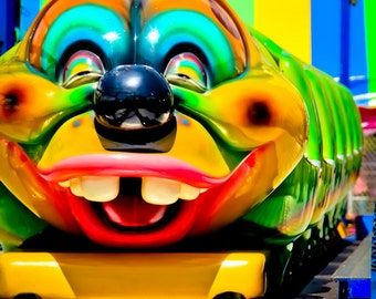 Smiling Caterpillar Roller Coaster Ride Fine Art Print- Carnival Art, County Fair, Nursery Decor, Home Decor, Children, Baby, Kids