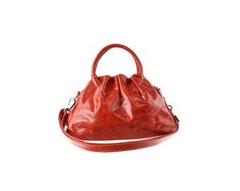 SALE - Orange Leather Purse, Shoulder Bag, Women, Handbag, artoncrafts
