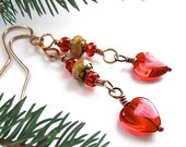 Bright Red Earrings, Festive Holiday Jewelry, Gift for Women, Rustic Romantic Hearts, Boho Chic Jewelry, Long Earrings, Bohemian Fashion