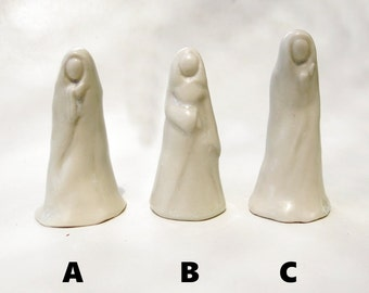 White Porcelain Abstract Lady Collectible Handmade Ceramic Art Minimalist Sculpture Miniature Figurine