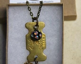 Vintage Dog Tag NECKLACE- NJ 1981 Dog Charm- Dog Tag- Dachshund- Found Object Jewelry-Dog Lover