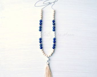 Long Beaded Necklace, Gemstone Necklace, Tassel Necklace, Boho Jewelry, Gift for Her, Blue Necklace, Boho Necklace, Lapis, Gift for Mom