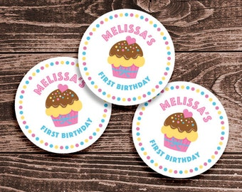 Personalized Cupcake Party Tags or Stickers – 2, 2.5 or 3 Inch Circle – DIY Printable  (Digital File)