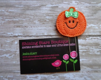 Planner Clips - Orange And Lime Green Smiling Halloween Pumpkin Paper Clip Or Bookmark - Girls Accessory - Accessories For Planners Or Books