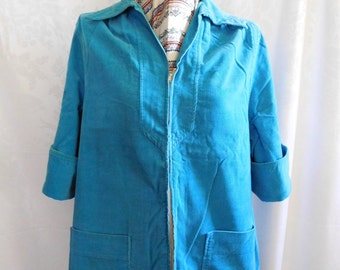 Turquoise Corduroy Smock Shirt Jacket Size Medium Vintage 50s