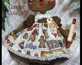 """Primitive Raggedy 14"""" Gingerbread Doll w/sifter ornie~Ginger Creek Crossing"""