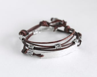 Layered Bracelet Set - Stacking Bracelet Set - Stackable Bracelets - Leather Bracelets For Women - Bracelet Set - Gift Under 50