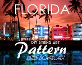 "DIY State String Art Pattern - Florida - 10"" x 9.5"" - Hearts & Stars included"