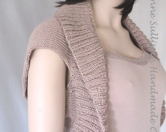 Hand Knit Beige Shrug Sweater, Woman's Shrug Sweater,  Bolero Shrug, Soft Hand Knitted Shrug