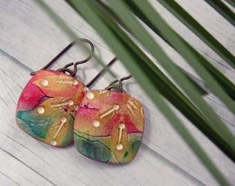 Polymer Clay Earrings Beach Jewelry featuring Abstract Leaf Design in Red, Green, Gold and White