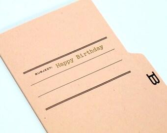happy birthday- letterpress printed tabbed notecard