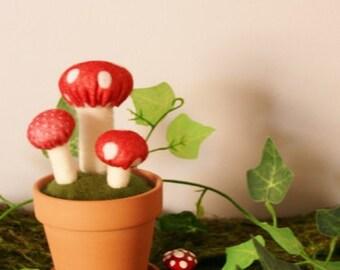 SALE Woodland Wonderland Series 2016 - Mushroom Pot Home Deco, Soft Sculpture, Miniature Mushroom