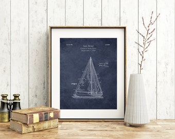 1930s Sailboat blueprint, sailboat patent prints, sail boat art print, patent poster, blueprint art, nautical decor, beach decor, beach art