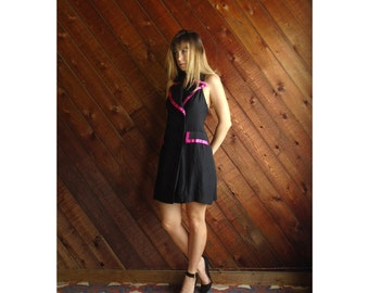 extra 25% off SALE ... T Back Hot Pink and Black Tuxedo Mini Dress Vintage 80s 90s - SMALL S