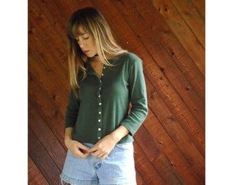 Sage Green Button Down Henley Tee Shirt - Vintage 90s - XS/S