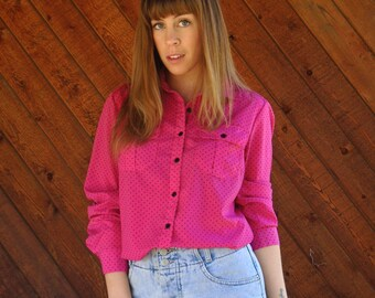 Hot Pink Polka Dot Button Down Shirt Blouse - Vintage 90s - MEDIUM