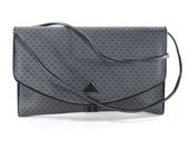 Leather Purse Triangle Print Navy XL Clutch Convertible Shoulder Bag
