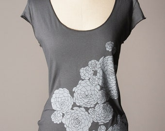 women's tshirt, dark gray shirt, botanical succulent screenprint, gardening tshirt