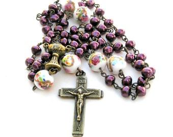 Catholic Rosary, Pearl Prayer Beads, Pearl Rosary, Vintage Beads