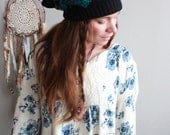 Teal and Black Knit Geometric Recycled Upcycled Sweater Slouchy Tam Hat Beanie By MountainGirlClothing