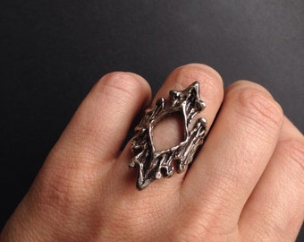Silver Wood Pattern Ring - Rotted Wood Bark with cutaway - Sterling Silver  - made in my Austin Tx Studio