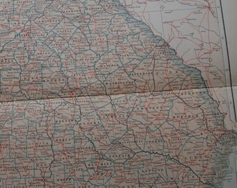 1909 State Map Georgia - Vintage Antique Map Great for Framing 100 Years Old