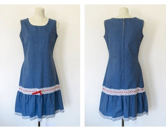 Vintage 1960s Chambray Sundress / Lace Trim / Cotton Shift Dress