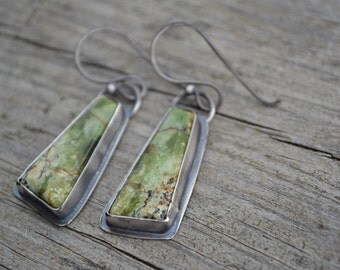 Serpentine and Sterling Silver Earrings, Handmade, USA stone