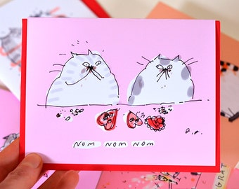 Funny Valentine Card - Nom Nom Nom - Cat Valentine's Day Card - Fat Cats - Chocolate