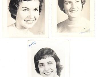 3 vintage Photo Lot Pretty Teen Girls Women High School Picture Portrait 1960