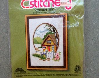 Vintage Crewel Kit, 1970s Needlepoint Kit, 1980s Crafting, Country Inn, Sunset Designs, Jiffy Stitchery Kit 774, Barbara Jennings Design