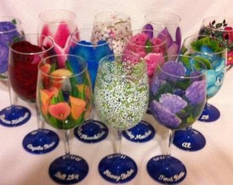 12 Hand Painted Flower Wine Glasses