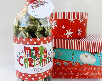 Christmas Cash Gift Idea Soda Bottle Label and Gift Tags and Tutorial