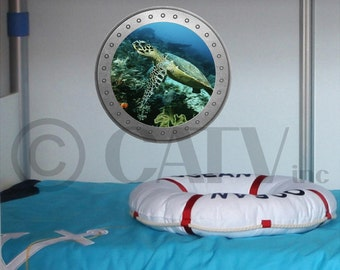 Porthole Turtle vinyl wall lettering kids room decor boat ocean theme wall decal self adhesive sticker