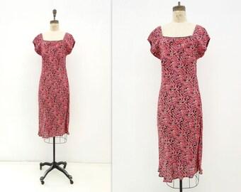 sale 90s Floral Dress Vintage 90s Dress Coral Bias Dress 90s Midi Floral Boho Vintage Dress Grunge Floral Dress 1990s Floral Dress Large
