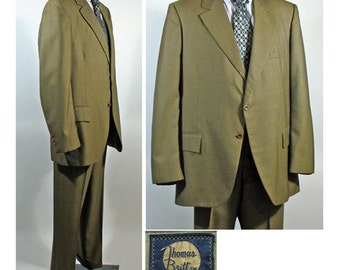 Vintage 1960s Men's SB Suit by Thomas Britt in Olive Green SZ 44L