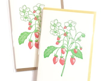 Strawberry Card, letterpress card, Nature Card, Wildflowers Berries Card, Blank Greeting Cards, Handmade Card, Thank You Card, New Mom Card