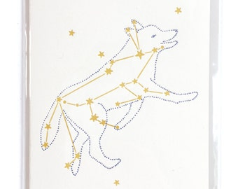 Wolf Constellation Card, Letterpress Cards, Lupus Greeting Cards, blank greeting cards, Space card, card for him, dad card, thank you card
