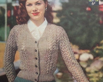 "Vintage 1940s 1950s Knitting Pattern Women's Lacy Cardigan 40s 50s original colour pattern Lister UK No. 329 32"" bust"