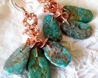 Turquoise Earrings Freeform Natural Bright Copper Tribal Boho Hippie Gypsy Drop Dangles Original Handmade Statement Earrings Jewelry