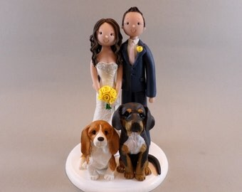 Unique Cake Toppers - Bride & Groom with Dogs Custom Made Wedding Cake Topper