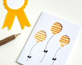 Yellow Baby Shower Card - New Baby Card - Baby Greeting Card - Mustard Yellow - Balloon Birthday Card - Gender Neutral Baby Card - Unisex