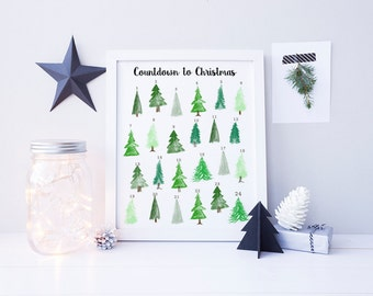 Advent Calendar Print - Countdown to Christmas - Christmas Tree Advent Calendar - Reusable Advent Calendar - Personalized Christmas Gift -