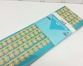 Vintage Wrights Beige Lace Trim, 2 Yards 1/2 inch 13mm Cotton Sunburst Ecru Crochet Lace Trim