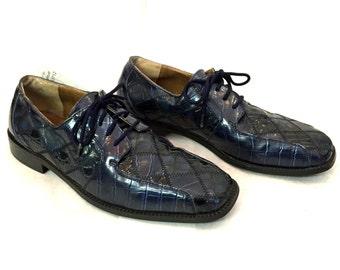 Vintage Oxfords Roberto Chillini Navy Blue Oxfords Faux Crocodile Oxfords Mens Oxfords Size 10.5 Leather Dress Shoes Leather Oxfords